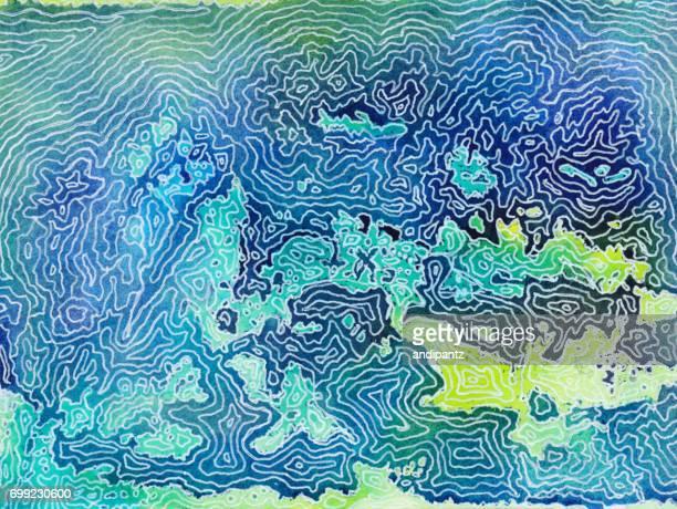ilustraciones, imágenes clip art, dibujos animados e iconos de stock de fondo abstracto con el arte de la línea que se asemeja a la topografía - geografía física