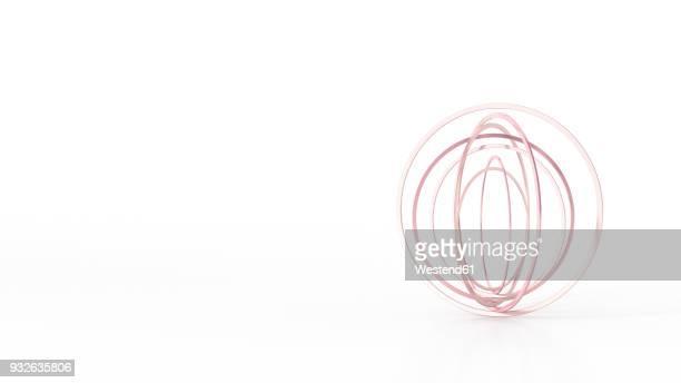 Abstract balancing rings, 3d rendering