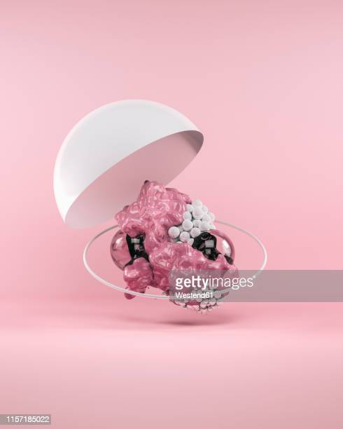 abstract bubbles on pink background - group of objects stock illustrations