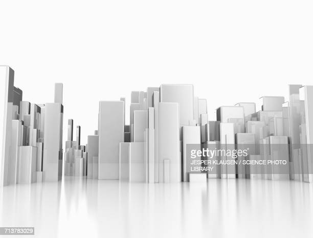 abstract cityscape, illustration - tall high stock illustrations