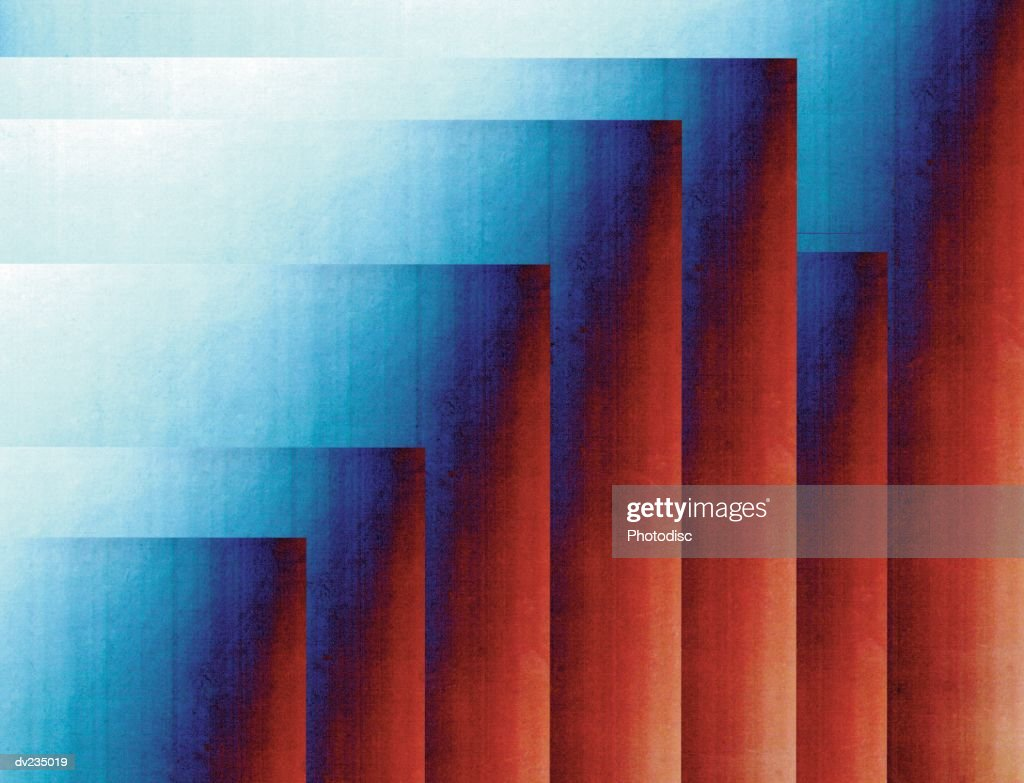abstract collage of red and blue right angles stock illustration