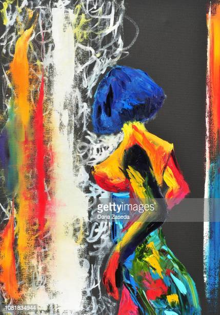 illustrazioni stock, clip art, cartoni animati e icone di tendenza di abstract colorful figure of haked woman contemporary art painting - donna nuda