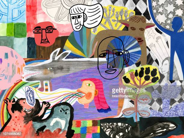abstract colourful collage of people, patterns and nature elements - composite image stock illustrations