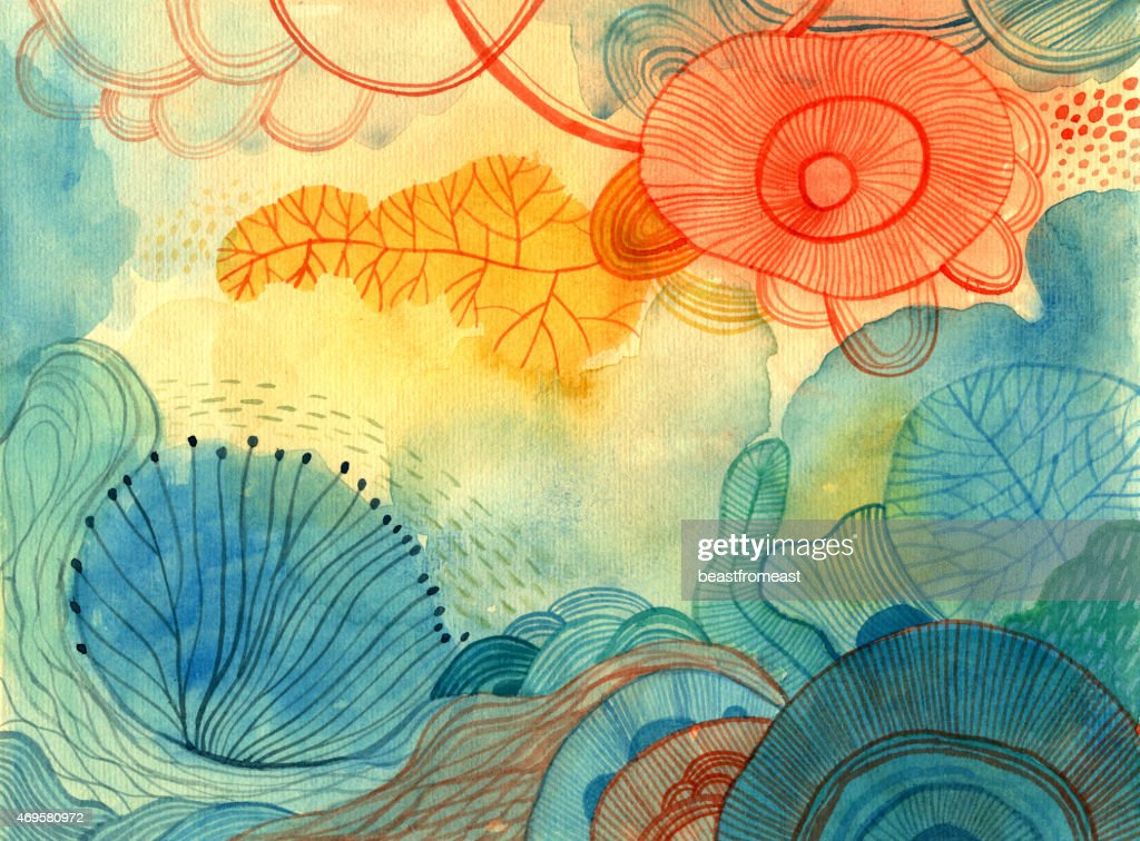 Abstract colourful watercolour background : stock illustration