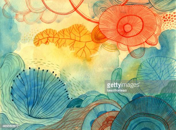abstract colourful watercolour background - painted image stock illustrations