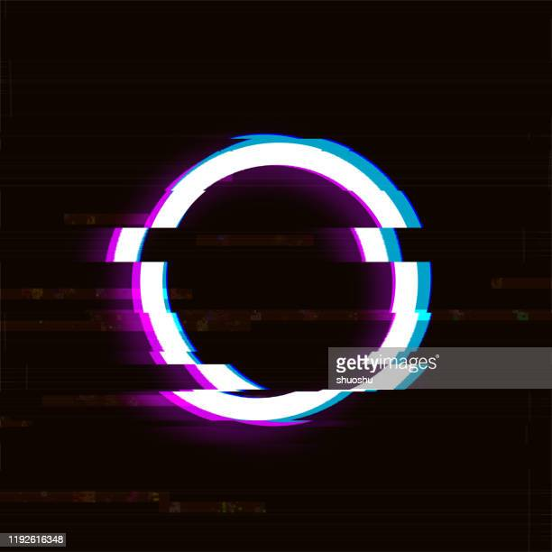 abstract digital enhancement glitch style circle vintage texture background - morphing stock illustrations