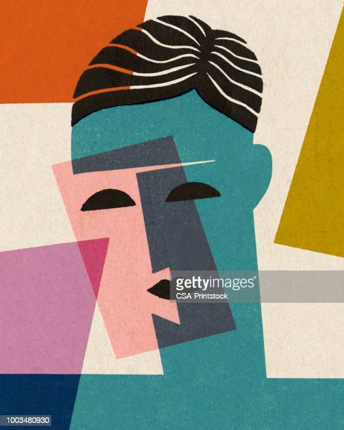 abstract face - modern art stock illustrations