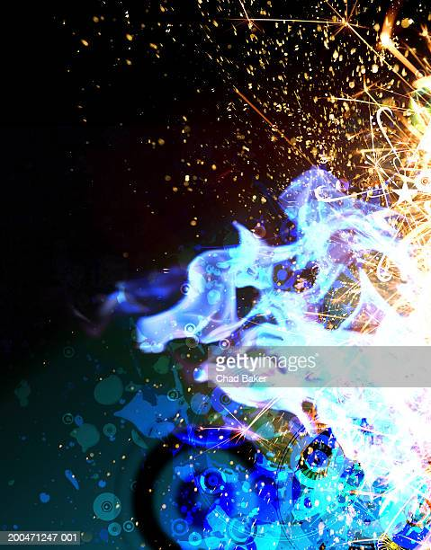 abstract flames and sparks (digital) - sparks stock illustrations, clip art, cartoons, & icons