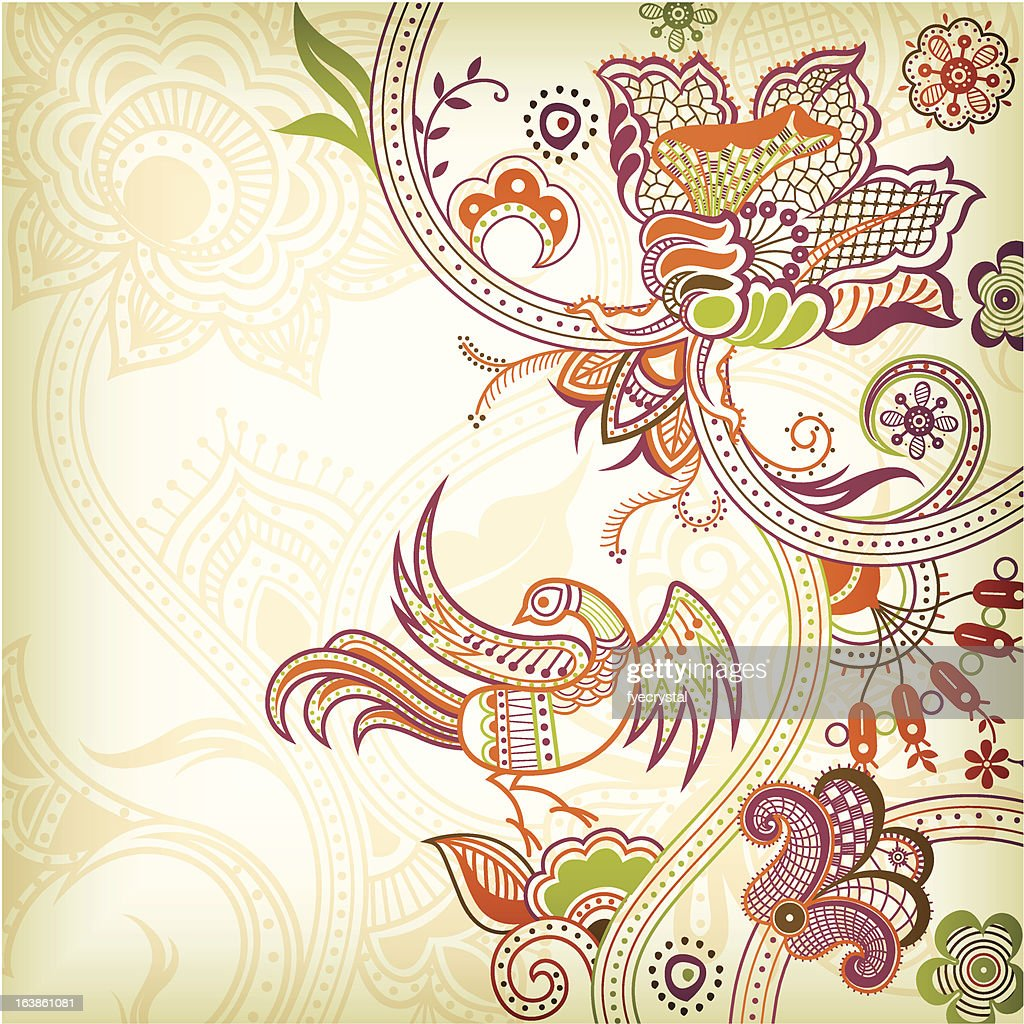 Abstract Floral and Quetzal