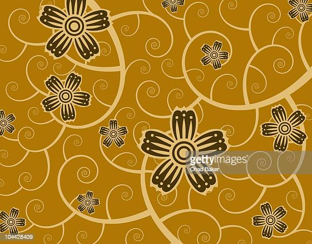 abstract flowers over growing vine background - vine stock illustrations