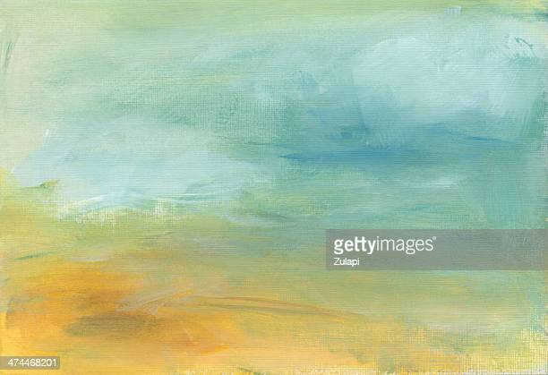 Abstract Green and Light Blue Painting