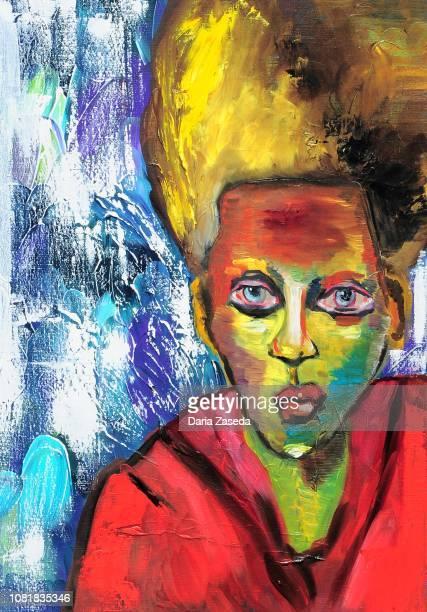 menschen mit großen augen zeitgenössischer kunst abstrakte malerei - farbpulver stock-grafiken, -clipart, -cartoons und -symbole