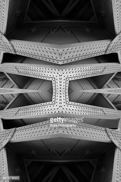 abstract image: kaleidoscopic image of steel structural beams - metal industry stock illustrations