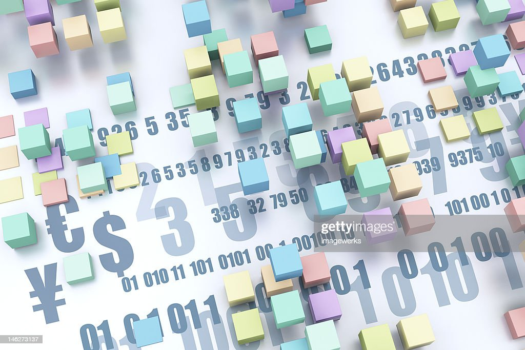 Abstract Image Of Different Currency Symbols And Cubes With Binary