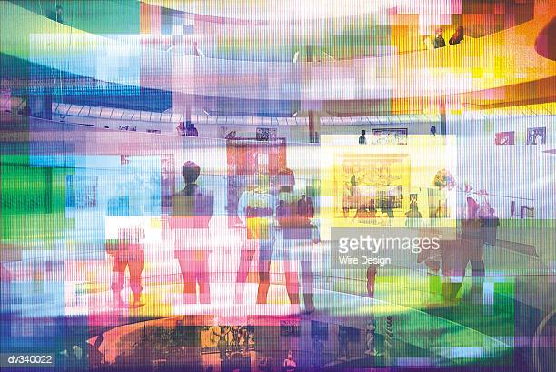 Abstract image of people viewing art in gallery