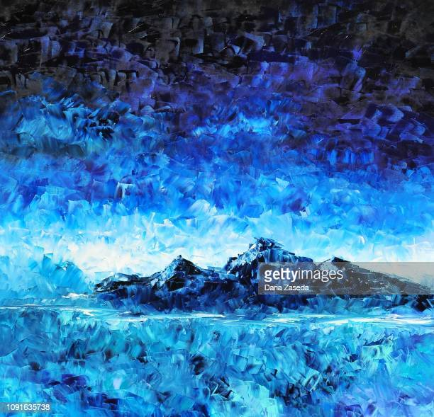 abstract landscape with blue beautiful mountain contemporary art painting - seascape stock illustrations, clip art, cartoons, & icons