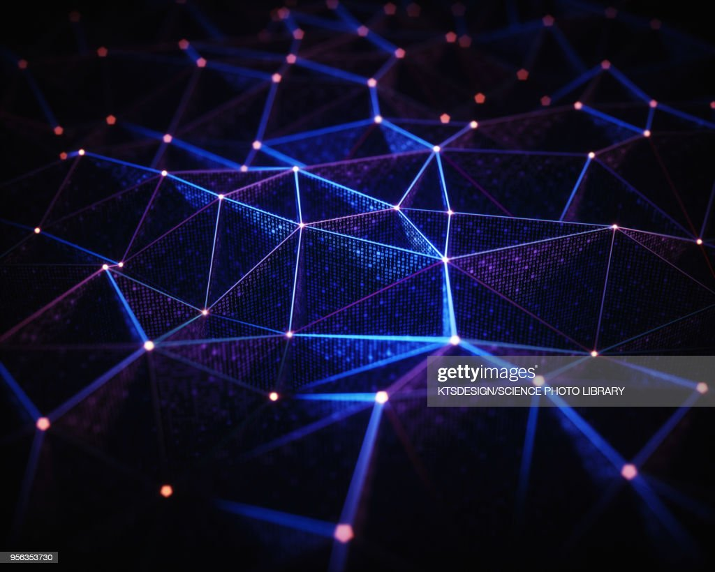 Abstract network of lines and dots, illustration : Stock Illustration
