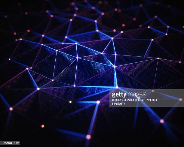 abstract network of lines and dots, illustration - technology stock illustrations