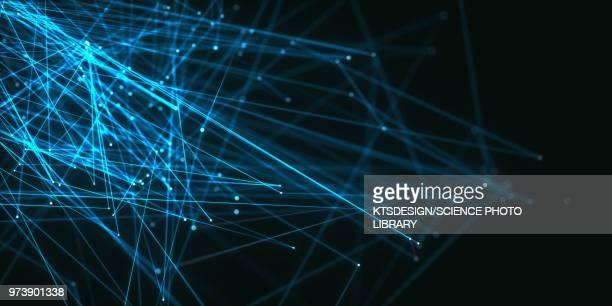 illustrazioni stock, clip art, cartoni animati e icone di tendenza di abstract network of lines and dots, illustration - modalità wire frame