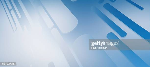Abstract oblong designs over blue background