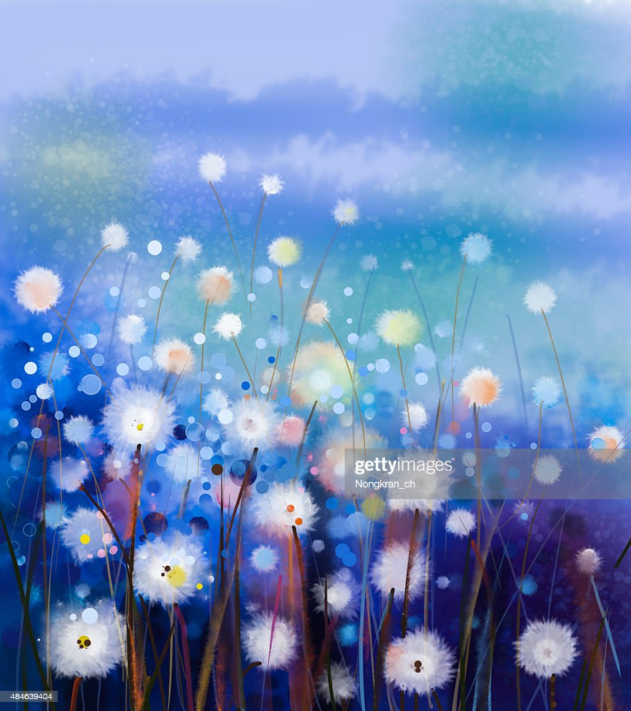 Abstract Oil Painting White Flowers Field In Soft Color Stock