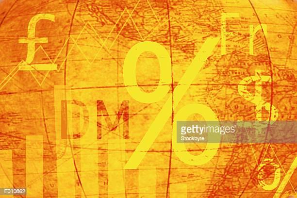abstract orange globe with international money symbols - franc sign stock illustrations, clip art, cartoons, & icons