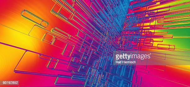 Abstract outlines against a rainbow colored background