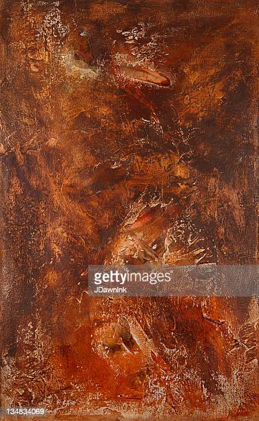 Abstract painted acrylic copper and bronze texture on canvas