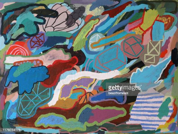 abstract painted background pattern and human figure - mixed media stock illustrations