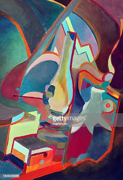 illustrations, cliparts, dessins animés et icônes de peinture abstraite - cubisme