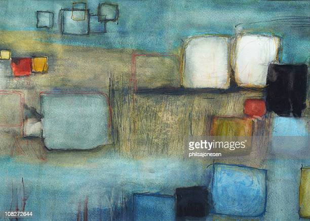 abstract painting of different color squares  - paintings stock illustrations