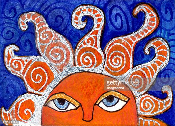 ilustraciones, imágenes clip art, dibujos animados e iconos de stock de aumento de sol - sol en la cara