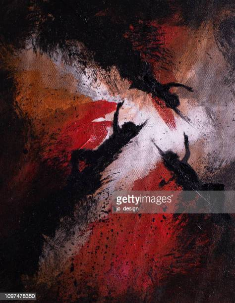abstract painting of three people reaching out - jaded pictures stock illustrations