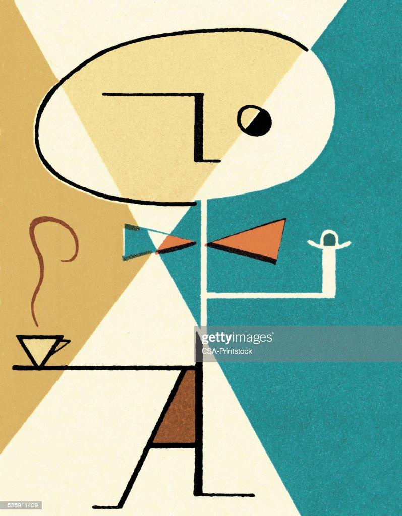 Abstrato pessoa com café : Ilustração de stock