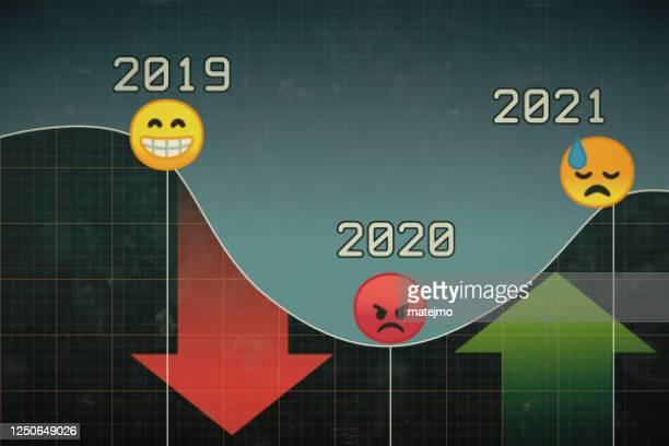 顔文字と赤と緑の矢印で2020年頃の経済発展を表す抽象的なピクセル化されたグラフ - スロベニア点のイラスト素材/クリップアート素材/マンガ素材/アイコン素材