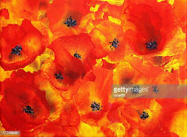 abstract poppies art painting - poppy stock illustrations
