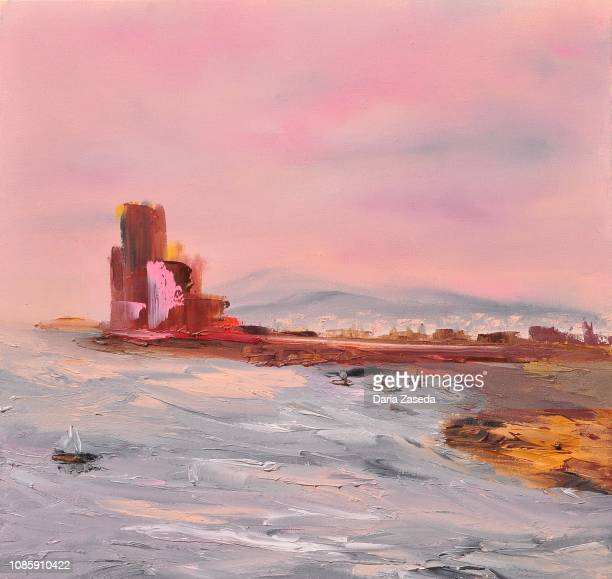 abstract red castle near the harbor contemporary art painting - dramatic sky stock illustrations
