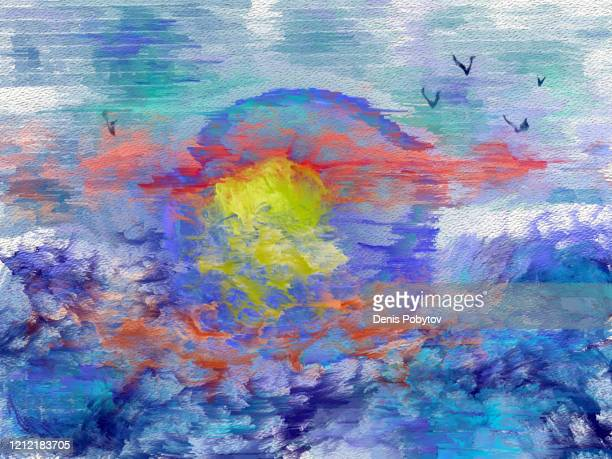 abstract seascape on canvas - sunset over the sea. - tempera painting stock illustrations