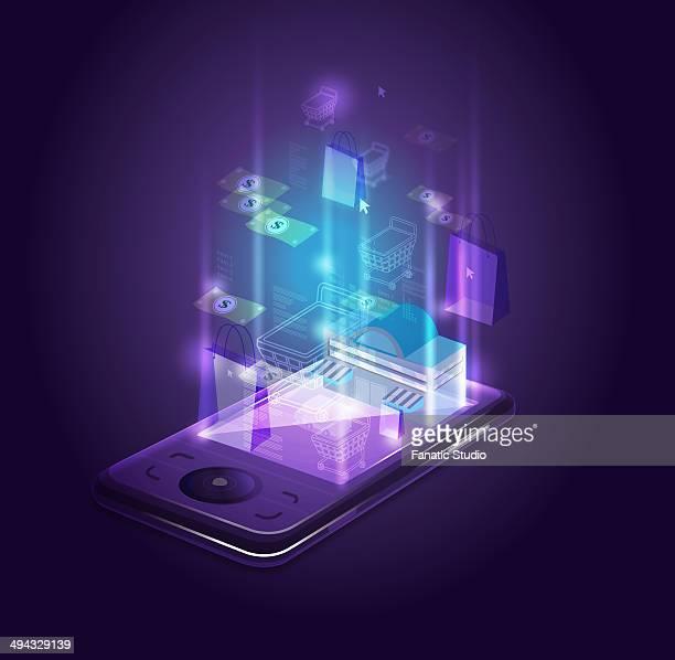 ilustraciones, imágenes clip art, dibujos animados e iconos de stock de abstract shot of smart phone depicting online shopping - puesto de mercado