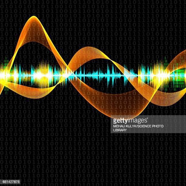 illustrazioni stock, clip art, cartoni animati e icone di tendenza di abstract sound waves - onda sonora