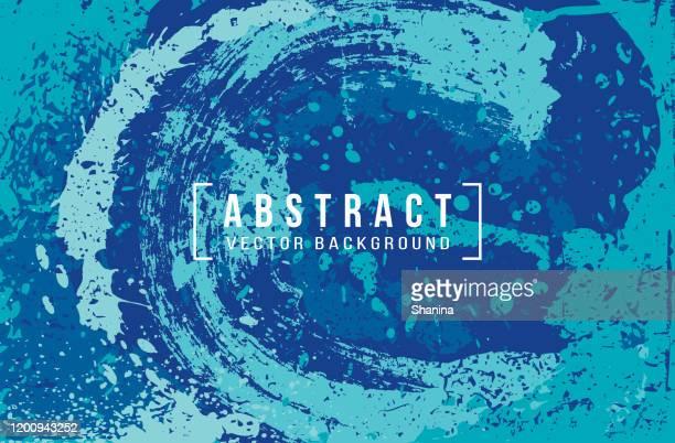 ilustraciones, imágenes clip art, dibujos animados e iconos de stock de fondo abstracto de pintura de salpicaduras en azul - galaxiaespiral