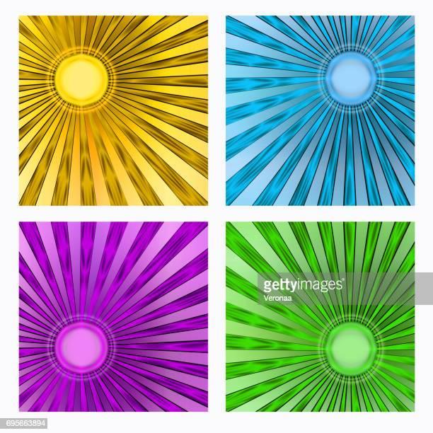 abstract sun background set - solar flare stock illustrations, clip art, cartoons, & icons