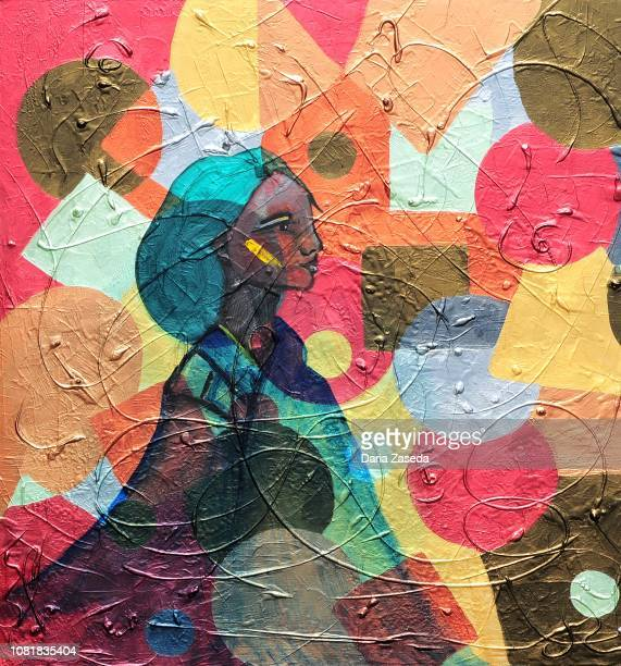 abstract transparent woman's portrait on the mosaic background contemporary art painting - modern art stock illustrations