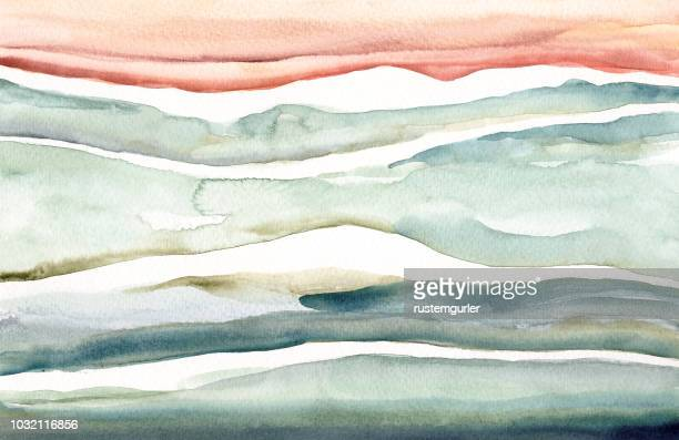 illustrazioni stock, clip art, cartoni animati e icone di tendenza di abstract watercolor landscape - dipinto