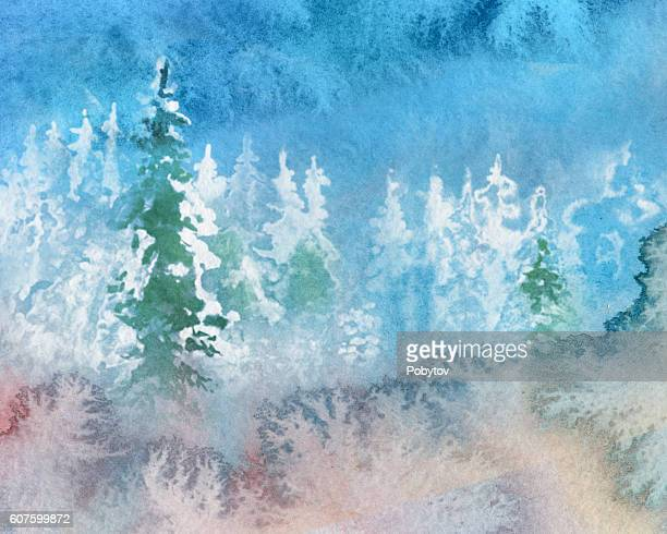 abstract watercolor winter landscape - blizzard stock illustrations, clip art, cartoons, & icons