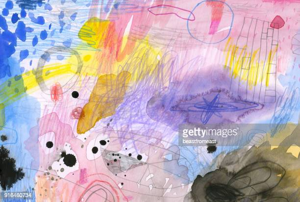 abstract watercolour background - mixed media stock illustrations