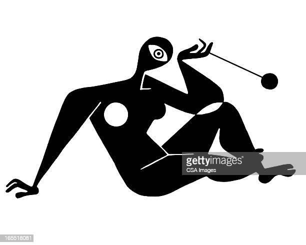 abstract woman and yo-yo - the human body stock illustrations