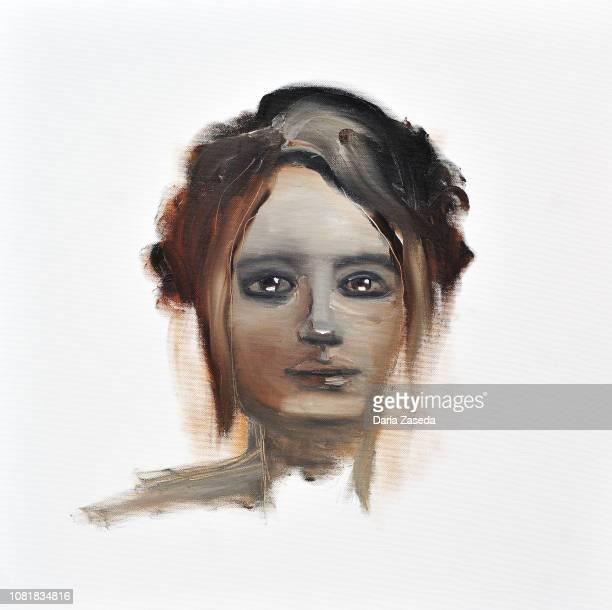 Retrato en acrilico mujer en camisa blanca | Ilustraciones