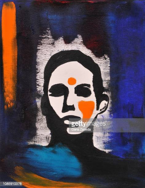 abstract woman with bindi contemporary art painting - bindi stock illustrations