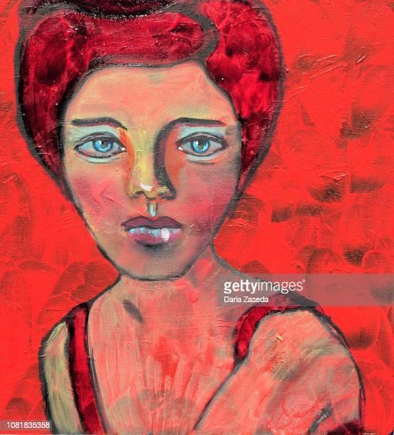 ilustraciones, imágenes clip art, dibujos animados e iconos de stock de resumen retrato de la mujer en la pintura de arte contemporáneo rojo - producto artístico